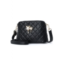 Chic Diamond Quilted Pearl Embellishment Black Crossbody Messenger Bag 21*10*13 CM