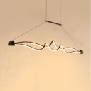 Cafe 45.5 Inch Hanging Light Creative Wave Shape Waterproof LED Pendant Light in Warm/White