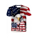 Men's Stylish Short Sleeve Round Neck Letter USA 3D Eagle American Flag Print Casual Graphic Red T-Shirt