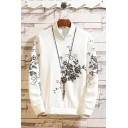 Stylish Floral Printed Long Sleeve Round Neck Casual Pullover Sweatshirt For Men