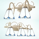 Tiffany Style Conical Sconce Light Glass 2/3 Lights White Wall Lamp for Bathroom Hallway