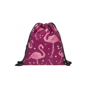 New Collection Flamingo Polka Dot Printed Purple Drawstring Backpack Storage Bag 30*39 CM