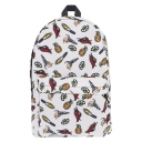 Stylish Fruit Vegetables Printed Large Capacity White Travel Bag School Backpack 27*10*42 CM