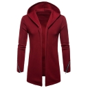 New Stylish Simple Plain Long Sleeve Casual Open-Front Zipper Detail Casual Longline Hoodie