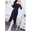 Womens Solid Color Round Neck Long Sleeve Midi Fishtail Ruffled Dress