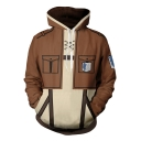 Cool Logo Printed 3D Comic Cosplay Long Sleeve Khaki Loose Fit Hoodie with Two Pockets