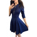 Women's Fashion Plain Long Sleeve Stand Collar Zip-Front Mini A-Line Dress