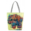Designer Unique Elephant Printed Yellow Canvas Shoulder Bag 27*8*37 CM