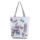 Popular Floral Butterfly Building Printed White Shoulder Bag 27*11*38 CM