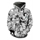 Black and White 3D Allover Comic Character Ahegao Printed Long Sleeve Drawstring Hoodie