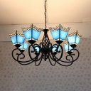 Glass Craftsman Pendant Lamp Living Room 8 Lights Tiffany Style Nautical Chandelier in Blue