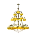 21 Lights Dome Shade Chandelier Elegant Style Glass Pendant Light with Mermaid for Villa