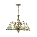 Stained Glass Peacock Tail Chandelier Bedroom 5 Lights Tiffany Style Antique Hanging Light with Mermaid