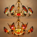 Rustic Style Butterfly Chandelier with Butterfly 7 Lights Stained Glass Pendant Light for Bedroom