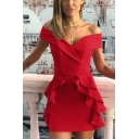 Summer Off the Shoulder V Neck Solid Color Ruffle Mini A-line Dress
