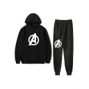 Hot Sale Letter A Logo Pattern Hoodie with Drawstring Waist Sport Joggers