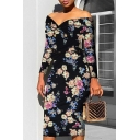 Womens Sexy V Neck Long Sleeve Floral Print Midi Bodycon Dress