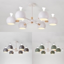 White/Gray/Green Globe Chandelier 6 Lights Simple Style Metal Hanging Light for Restaurant Shop