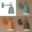 Simple Style Pail Wall Sconce Metal 1 Light Macaron Green/Pink/Blue/Gray Sconce Light for Hallway