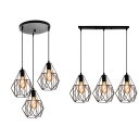 Black Wire Frame Pendant Light with Linear/Round Canopy Antique Metal Hanging Light for Shop