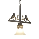 Traditional Bell Shade Pendant Lamp Frosted Glass 1 Light White Suspension Light with Bird Decoration for Bedroom