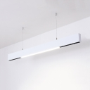 Black/White Linear Suspension Light Simple Style Acrylic LED Ceiling Lamp in Warm/White for Office