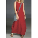 Hot Fashion Round Neck Sleeveless Plain Maxi Loose Tank Linen Dress For Women