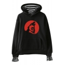 Trendy Teen Wolf Striped Inside Long Sleeve Fake Two-Piece Loose Fit Hoodie