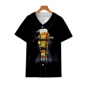 Guys Summer Cool Unique 3D Beer Printed Short Sleeve V-Neck Button Down Black Baseball Shirt