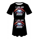 Popular Iron Hand Heart I LOVE YOU 3000 Round Neck Short Sleeve Black Mini A-Line Tee Dress