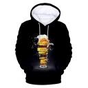 Hot Popular Cool Beer 3D Printed Long Sleeve Pullover Unisex Black Hoodie