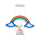 Rainbow Kid Bedroom Ceiling Light with Toy Bear Wood 3 Lights Lovely Hanging Lamp in Multi Color