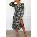Women's Limo V-Neck Long Sleeve Leopard Printed Bow-Tied Waist Midi A-Line Dress