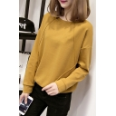 Hot Fashion Round Neck Long Sleeve Solid Color Casual Pullover Sweatshirt