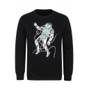 Guys Basic Round Neck Long Sleeve Astronaut Printed Pullover Black Sweatshirt