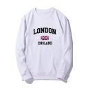 Fashion Flag Letter LONDON Print Round Neck Long Sleeve Pullover Sweatshirt