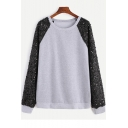 Light Gray Round Neck Sequined Raglan Long Sleeve Pullover Sweatshirt