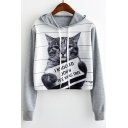 I KNOCNED DOWN THE XMAS TREE Letter Cartoon Card Cat Colorblock Striped Printed Long Sleeve Drawstring Cropped Hoodie
