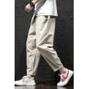 Guys Summer Basic Simple Plain Drawstring Waist Cotton and Linen Capri Tapered Pants