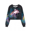 Fashion Rainbow Cat Unicorn Galaxy Printed Round Neck Long Sleeve Cropped Sweatshirt