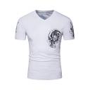 Guys Fashion Tiger Printed Short Sleeve V-Neck Slim Fit White T-Shirt