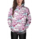 New Trendy Cute Cartoon Pink Unicorn Printed Long Sleeve Casual Relaxed Hoodie