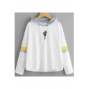Womens Cute Cartoon Cactus Embroidery Striped Long Sleeve White Relaxed Hoodie