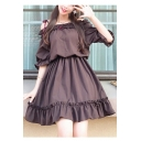 Girls New Fashion Cute Bow-Tied Straps Ruffled Hem Mini A-Line Chocolate Brown Dress