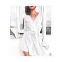 Womens Hot Fashion Simple Plain Surplice V-Neck Ruffled Long Sleeve Drawstring Waist Mini A-Line Dress