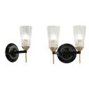 Bathroom Cylinder Shade Wall Light Lattice Glass 1/2 Lights Traditional Black Sconce Lamp