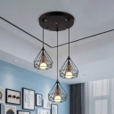 Metal Cage Hanging Light 3 Lights Vintage Linear/Round Canopy Suspension Light in Black for Shop