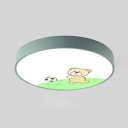 Green Round LED Flush Light with Bear Third Gear Cute Modern Acrylic Ceiling Light for Child Bedroom