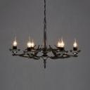Candle Shape Cafe Restaurant Chandelier Metal 6 Lights Vintage Style Pendant Lighting