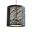 Black Cylinder Pendant Lamp Vintage Style Metal Hanging Lamp for Study Room Living Room